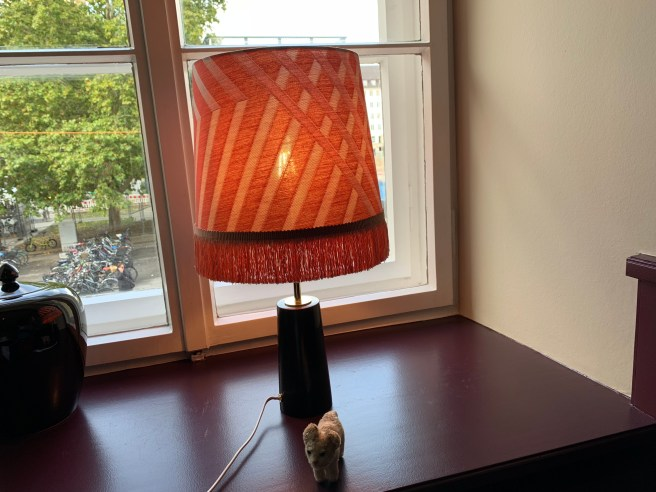 Frankie posed with the fringed lamp