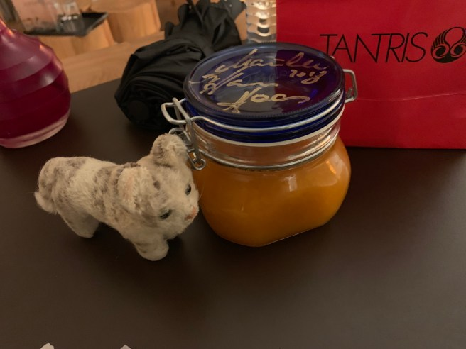 Frankie wanted some of the apricot preserves chef sent wiht us