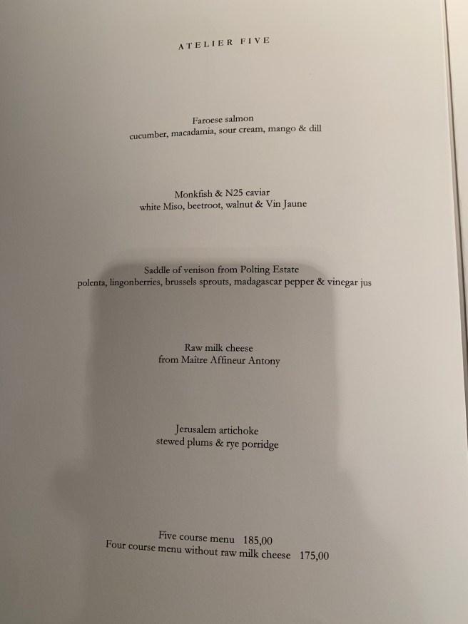 5 course tasting menu
