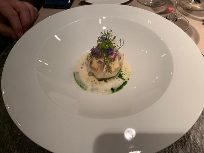 John Dory, cabbage, avocado and sauerkraut
