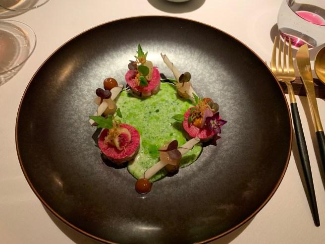 Aji, Crevettes bouquet, radish, tofu and wasabi