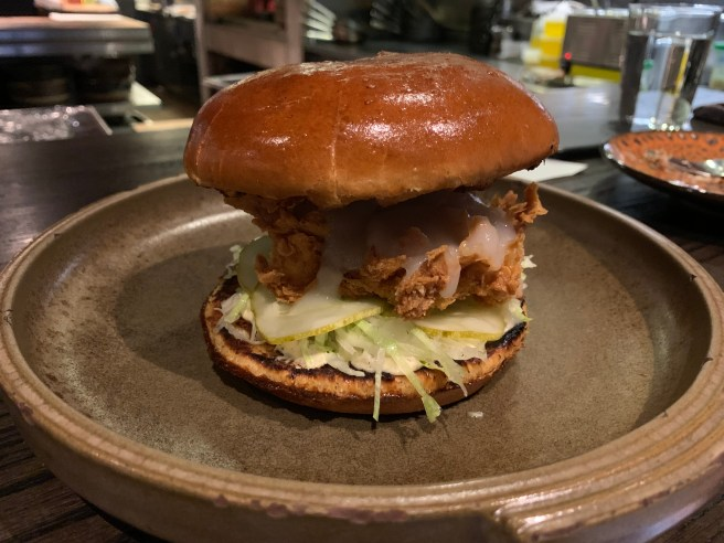 Fried chicken sandwich, sunchoke hot sauce, chamomile mayo