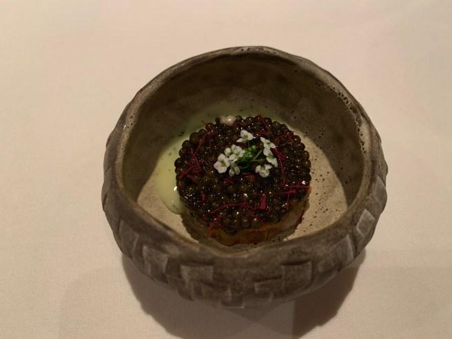 Golden Osetra Caviar, cured hampachi, dill and saffron