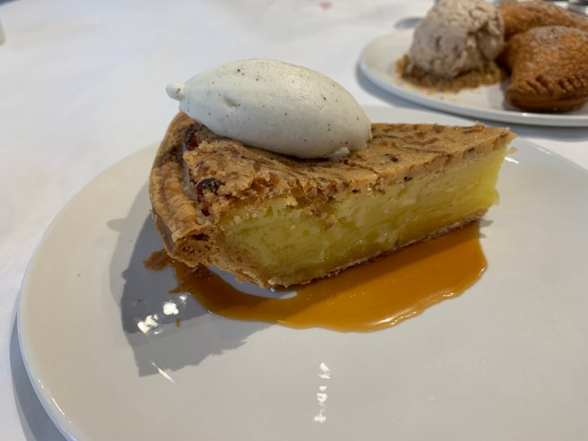 Coconut Custard Pie with Buttermilk Chantilly and Orange Caramel