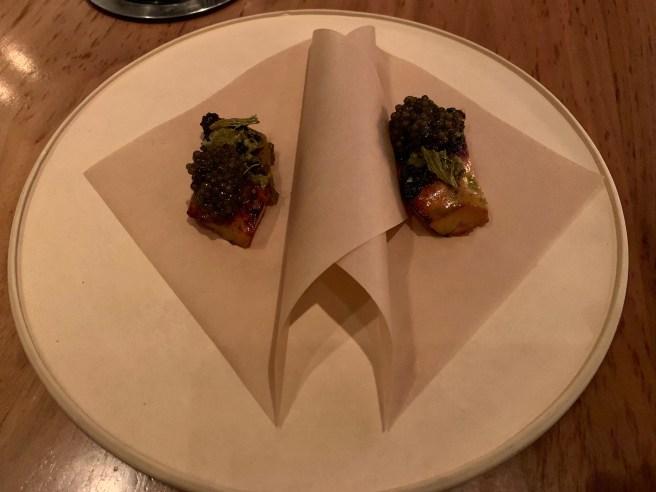 Shima Aji ribs barbecued iwht Kaluga caviar