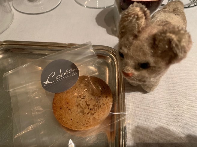 Frankie showed off the cookie that was a parting gift