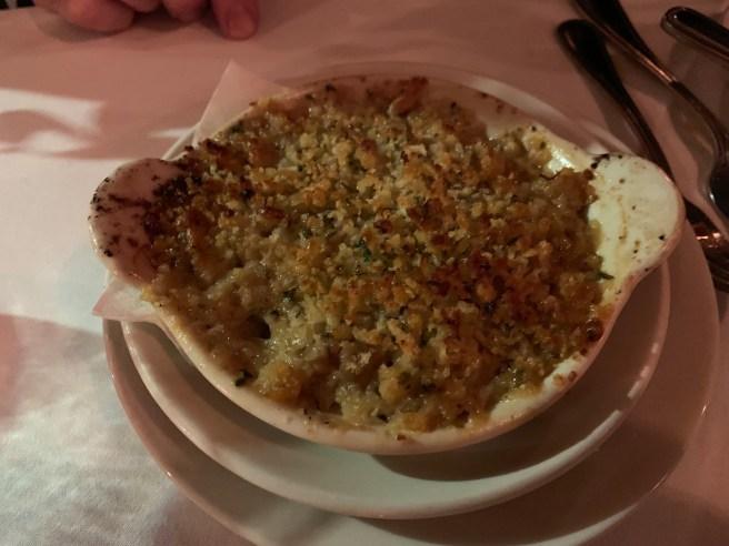 Oyster Gabie - artichokes, pancetta, garlic, scallions, lemon, parma reggiano bread crumb gratin