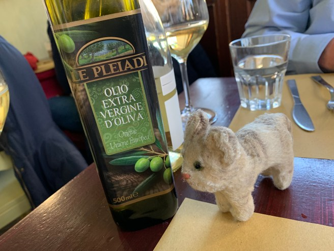 Frankie studied the olive oil