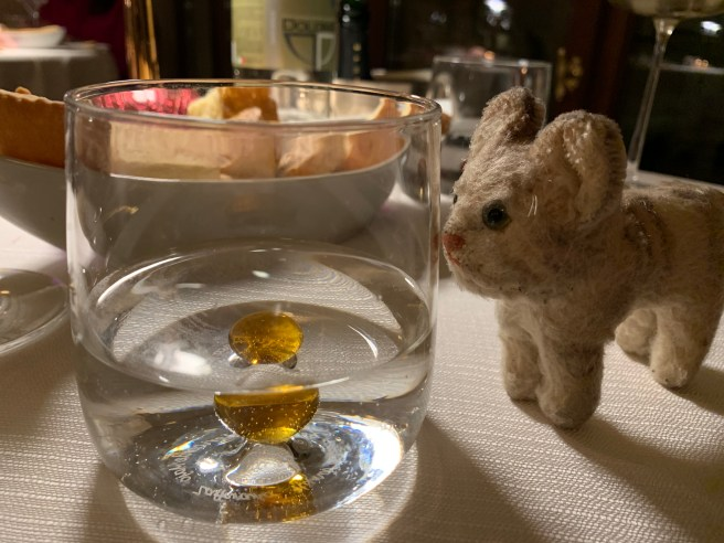 Frankie wondered about the little colored balls in the bottom of the glasses