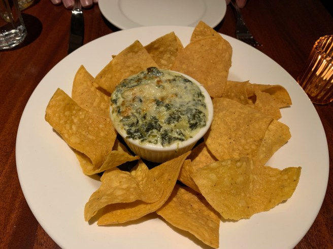 Artichoke Spin Dip with tortilla chips