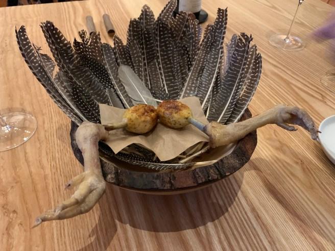 Guinea hen yakitori, Indian spices, hen egg-bone glaze
