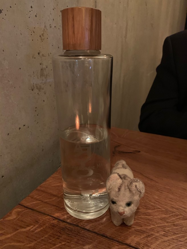 Frankie noted the water bottle had chef's name