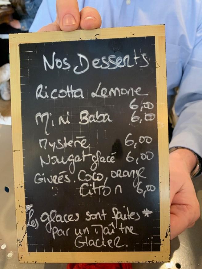 dessetr menu