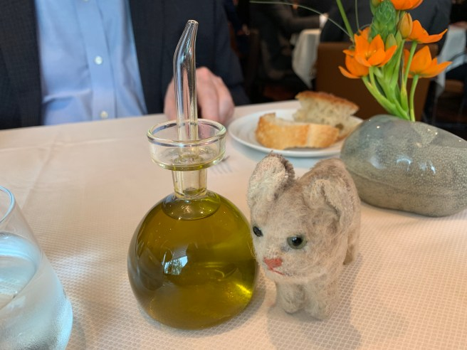 Frankie and the olive oil dispenser