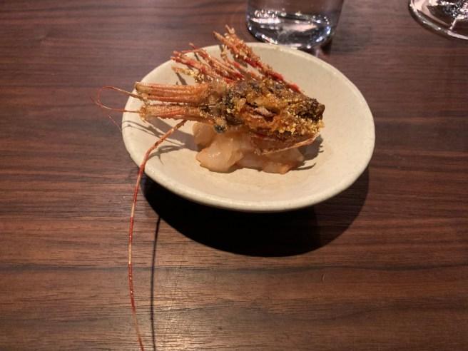 spot prawn - cornmeal