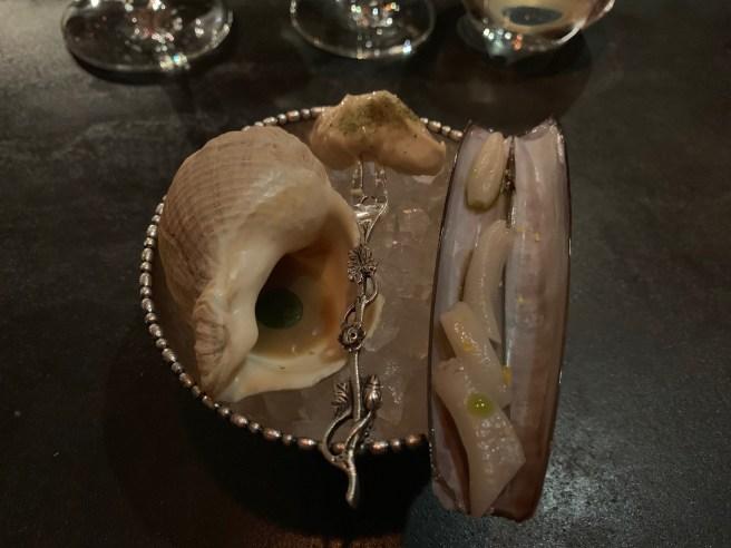 chilled shellfish (razor clam and welk)