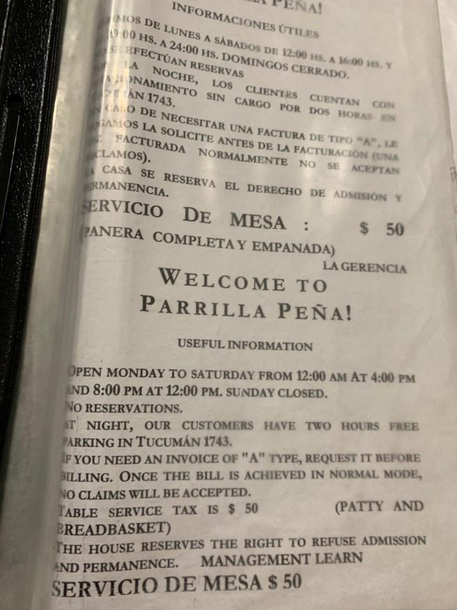 menu info