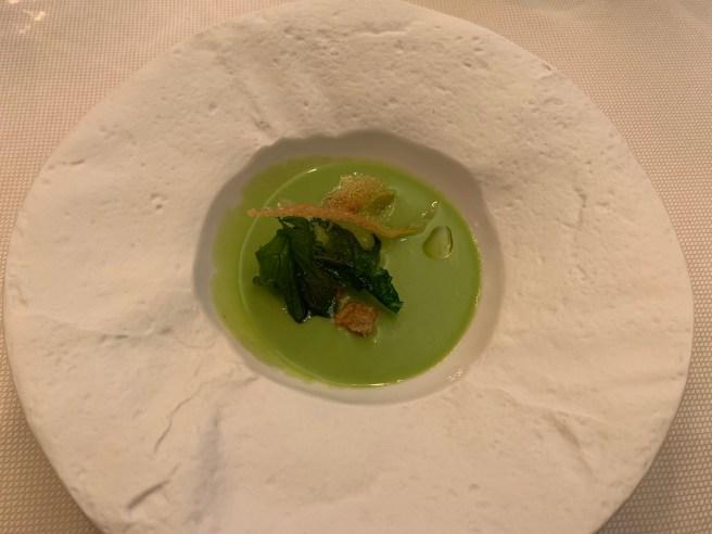 Chilled/Green Garlic, Crispy Potato, Dandelion