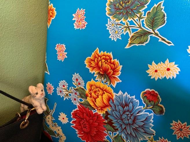 Frankie admired the bright flower pattern