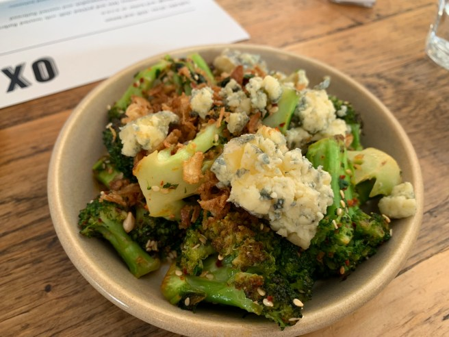 Broccoli, cashel blue, sesame seeds and chilli flakes