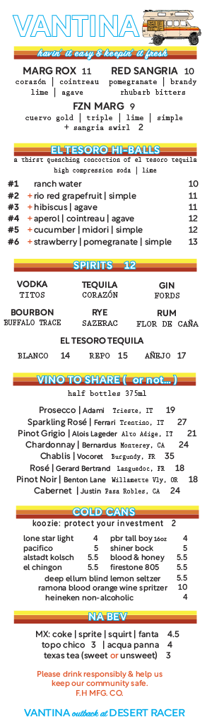 beverages (copied from website)
