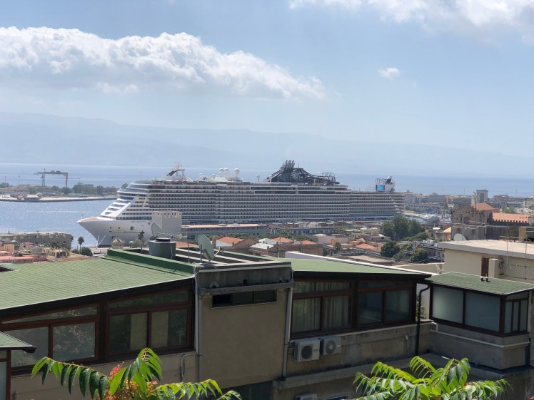 MSC Seaview seen from the Capperina Hill