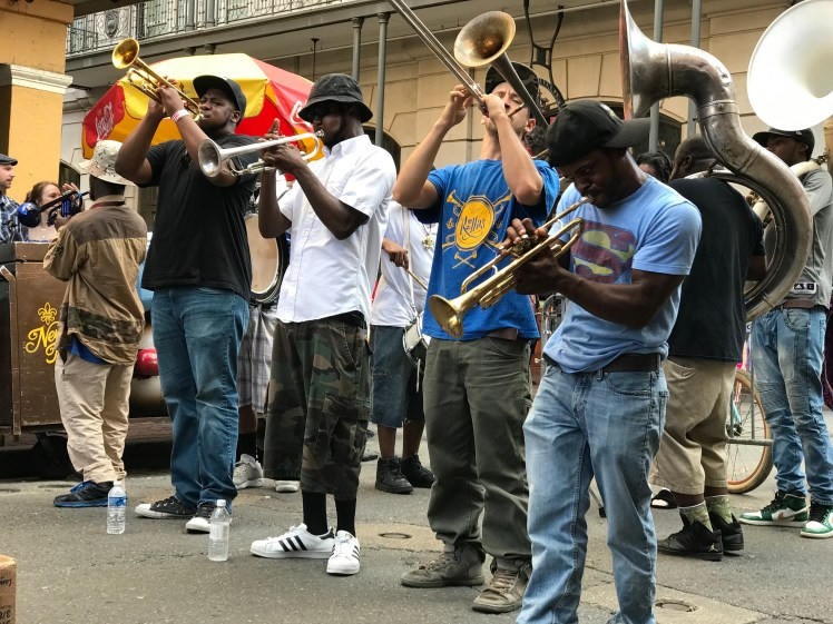 Street musicians making the party happen on the streets of New Orleans
