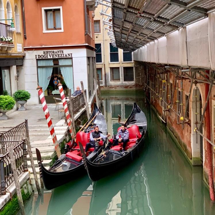 Venice gondoliers on a break