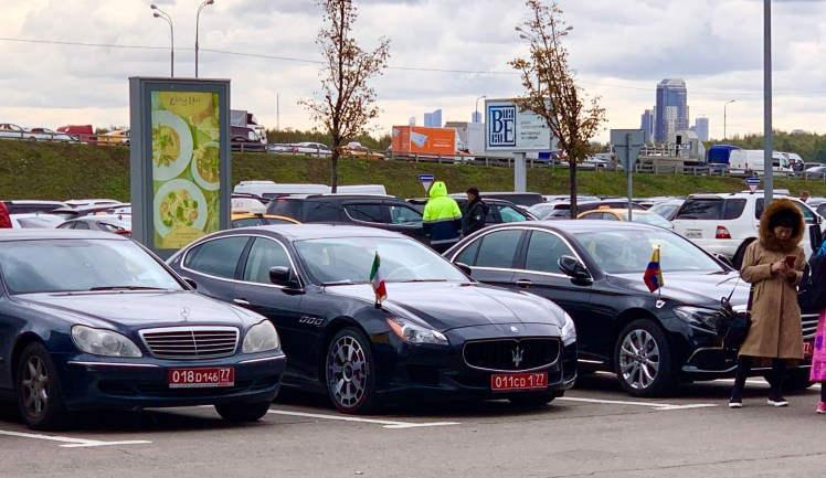 Diplomat vehicles in front of Crocus Expo Moscow