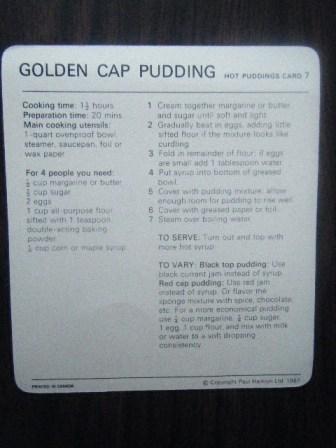 golden cap pudding recipe