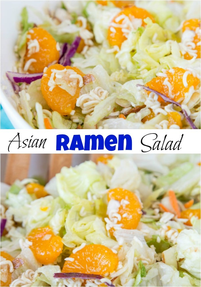 Asian Salad - the classic Asian ramen noodle salad using a homemade dressing - no seasoning packet necessary!  Quick, easy, and great with any meal. #salad #recipe #asiansalad #potluck