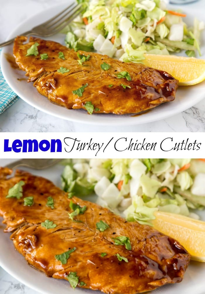 Lemon Turkey Cutlets - a healthy dinner that is ready in 15 minutes! Turkey or Chicken cutlets in tangy lemon sauce are prefect any night of the week.