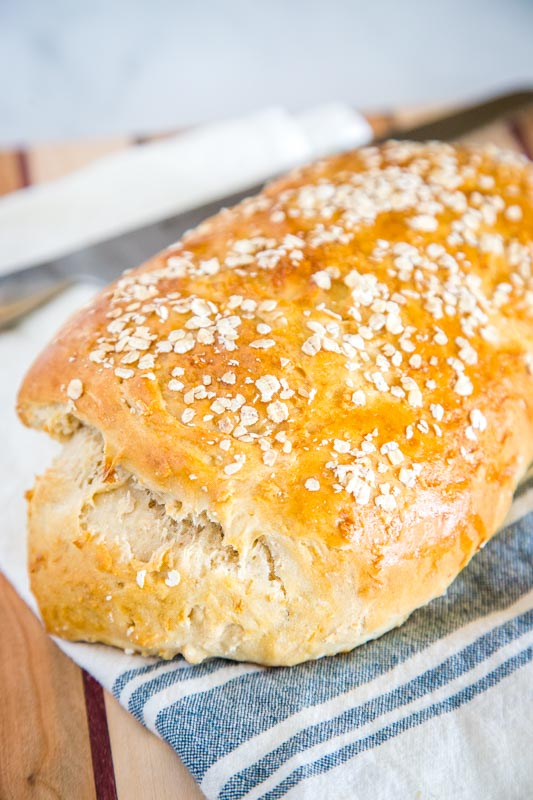 Homemade No Knead Bread with honey at oats