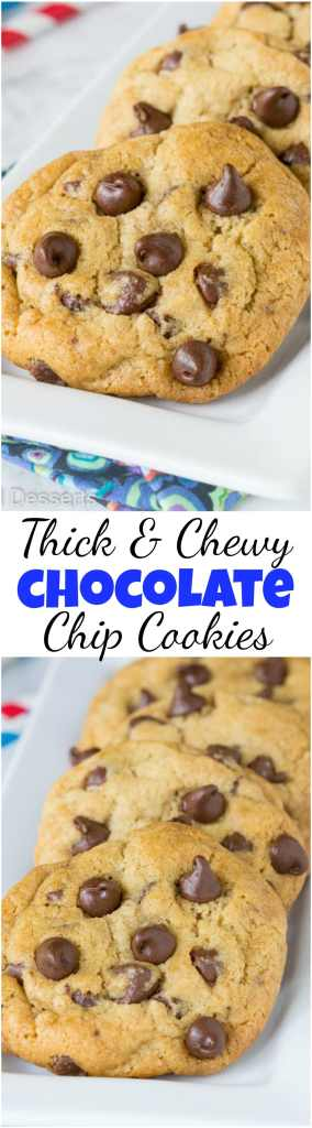 Thick and chewy chocolate chip cookies collage