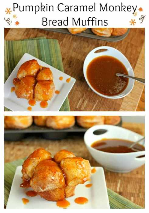Pumpkin Caramel Monkey Bread Muffins - Monkey bread with a fall twist. A delicious pumpkin caramel sauce finishes it off perfectly!