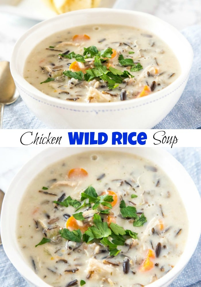 Creamy Chicken Wild Rice Soup - a thick and creamy wild rice soup that will warm you up and not leave you feeling guilty!  So hearty but actually good for you too.