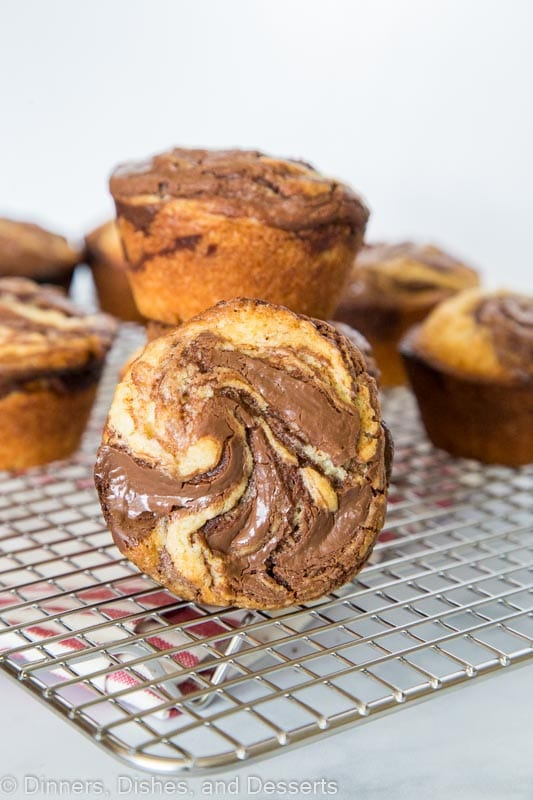 Stacked nutella muffins