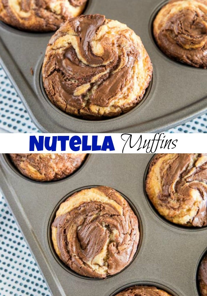 Nutella swirl muffins pin collage