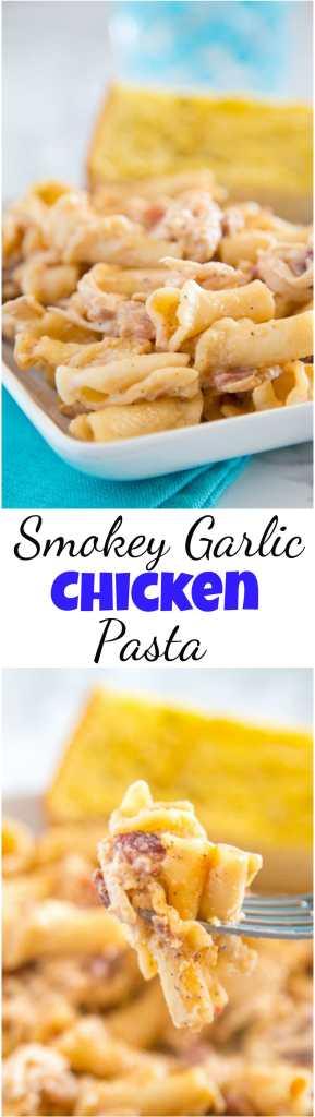 smokey garlic chicken pasta recipe collage