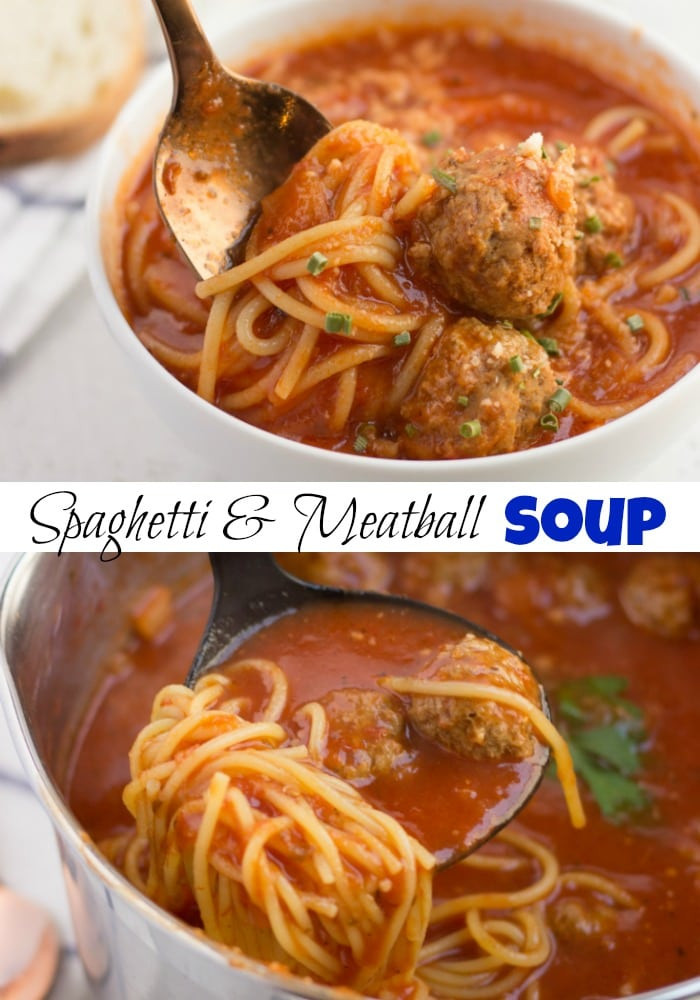 spaghetti and meatball soup in a bowl