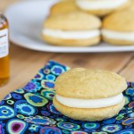 Brown Sugar with Maple Buttercream Whoopie Pies on flowered napkin