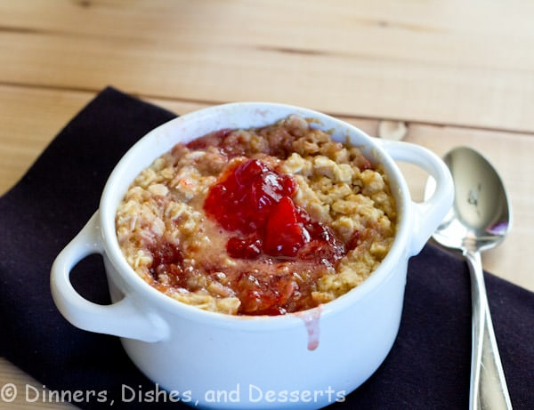 pb and j baked oatmeal in a bowl