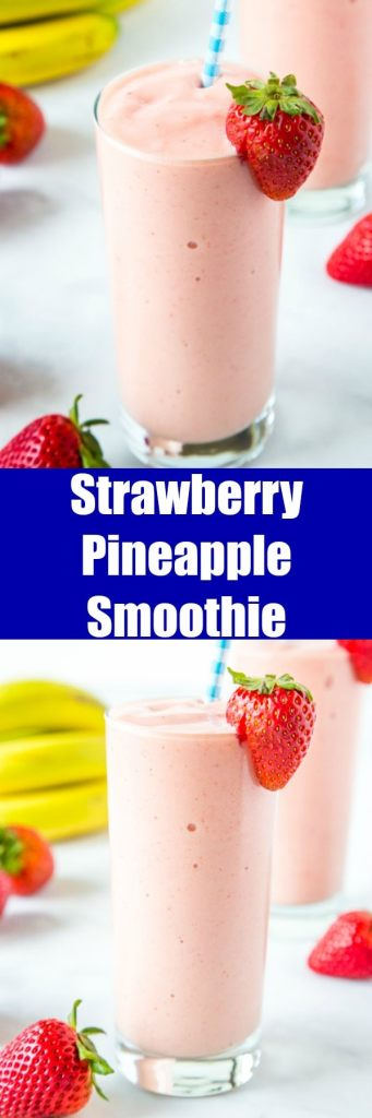 Strawberry Pineapple Smoothie - An easy and refreshing smoothie you can make in just minutes.  A homemade version of the Jamba Juice Aloha Smoothie that is perfect for snacking or breakfast.