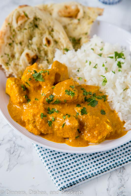 Chicken Tikka Masala - Yogurt marinated chicken in a spiced curry sauce. Seriously the best!  Serve with rice and Naan bread for a restaurant experience at home!