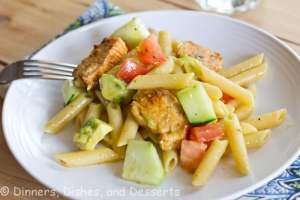 greek pasta salad on a plate