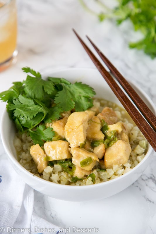 Thai Green Curry Chicken - a green curry chicken with lots of Thai flavor. You can make it in minutes any night of the week! And with ingredients you can find at your local grocery store.