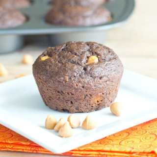 Chocolate Applesauce Muffins - Chocolate muffins with applesauce and Greek yogurt. They are actually healthy! I couldn't help it, and mixed in peanut butter chips to make it even better.