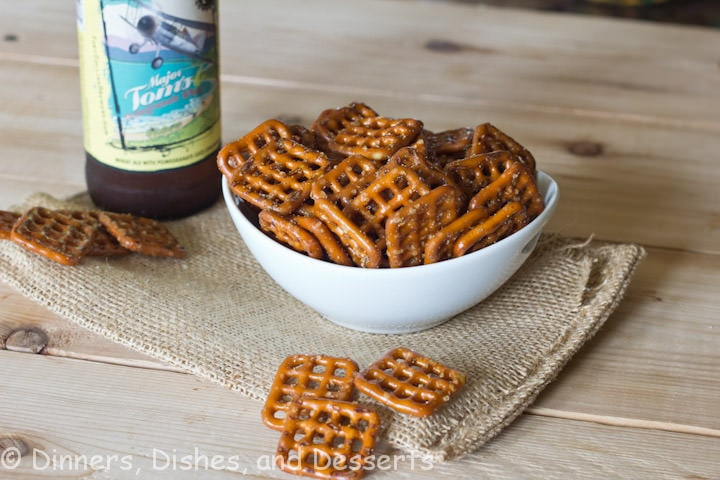 curried pretzels in a bowl