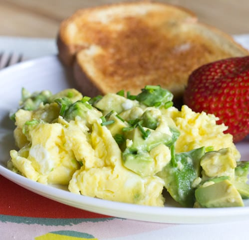 Avocado Scrambled Eggs - creamy scrambled eggs with heart healthy, buttery avocado