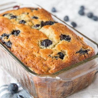 blueberry banana bread in the pan